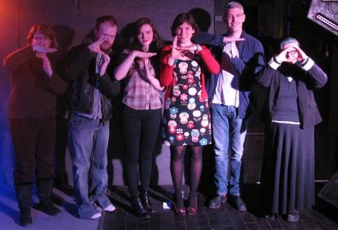 TSTLTO! L-R: Stephanie Fowler; Francis Brian Shaw; Raven Shields; Marsha Shandur; Paul Hutcheson; Sage Tyrtle